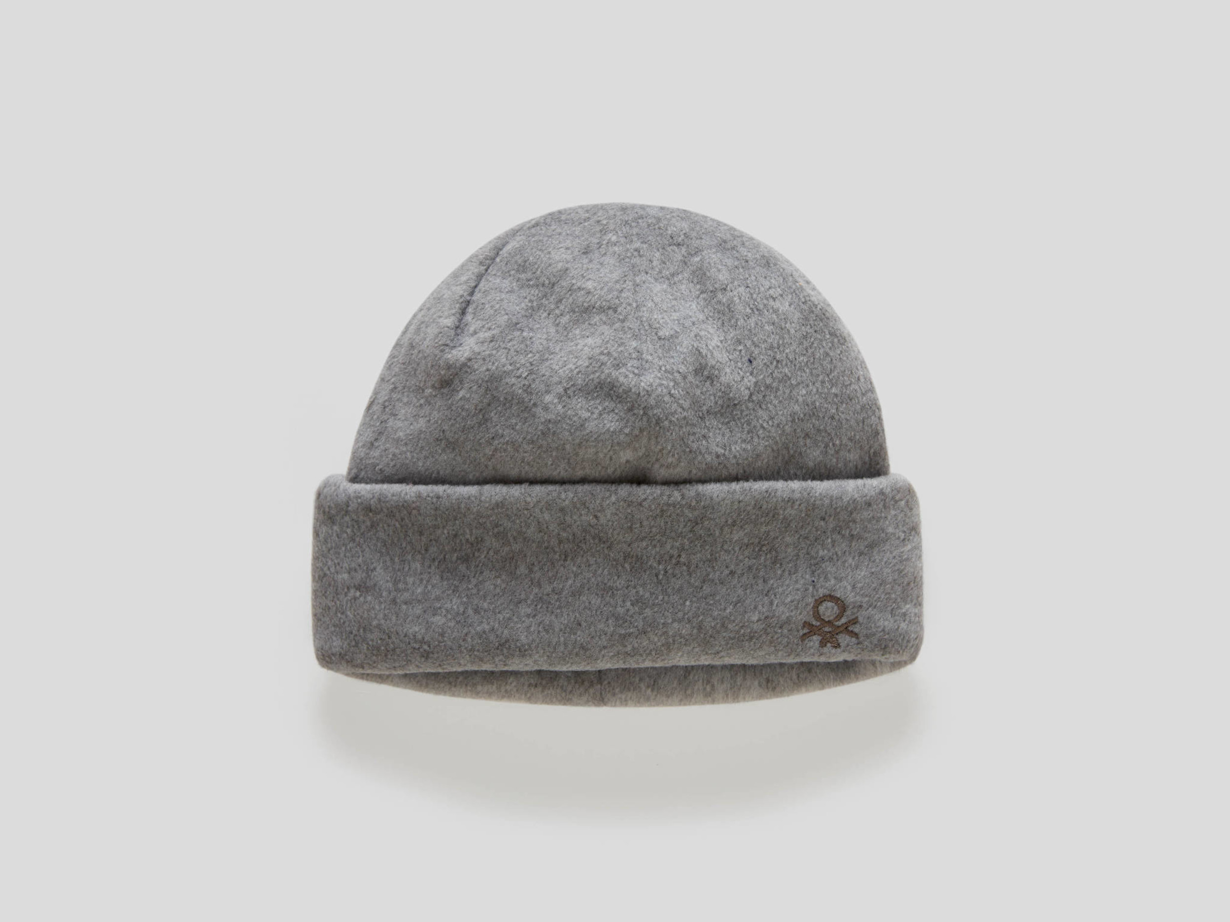 Benetton, Fleece Hat With Embroidered Logo, size , Gray, Kids