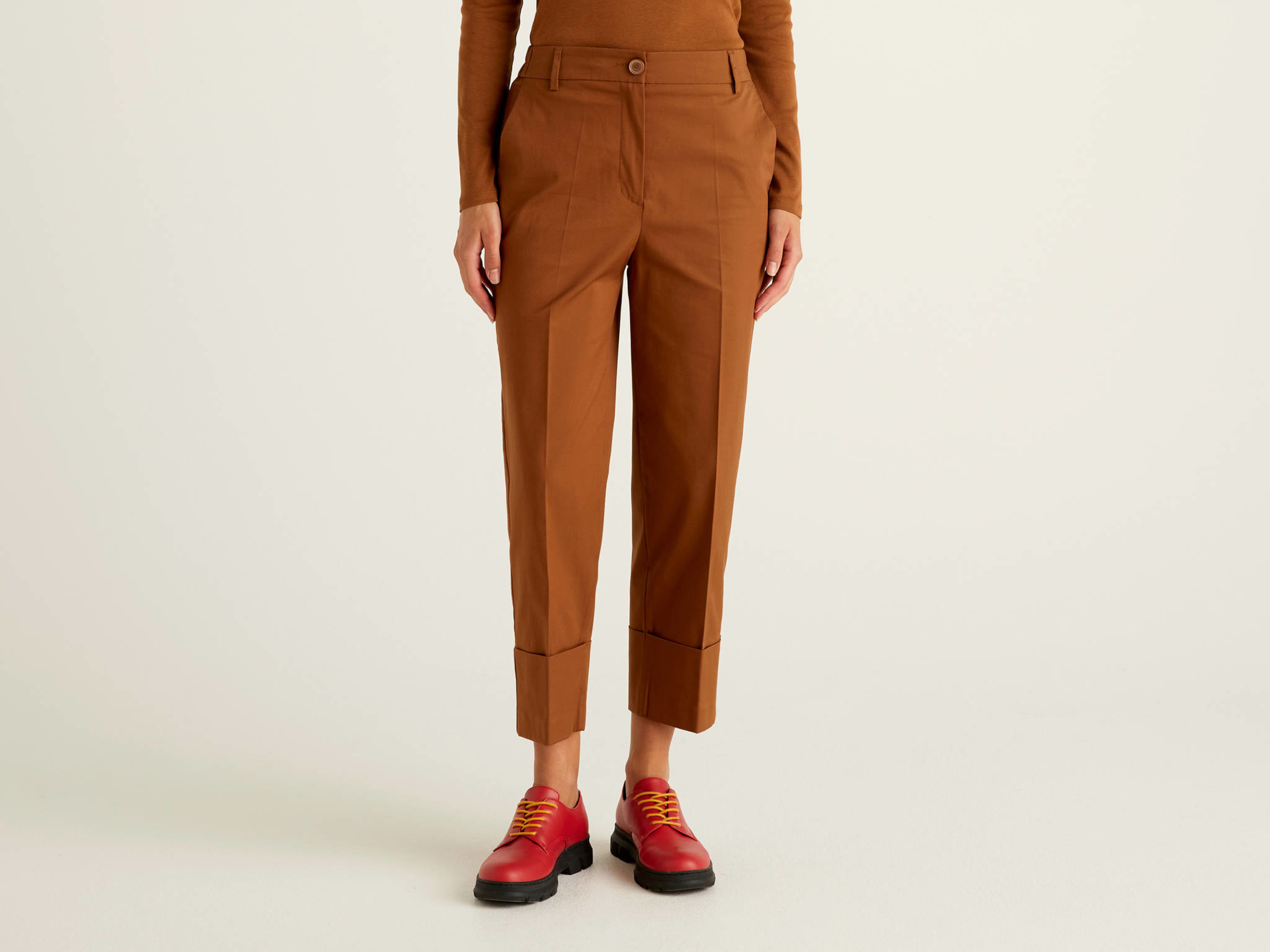 Benetton, Trousers With Maxi Cuffs, size , Brown, Women