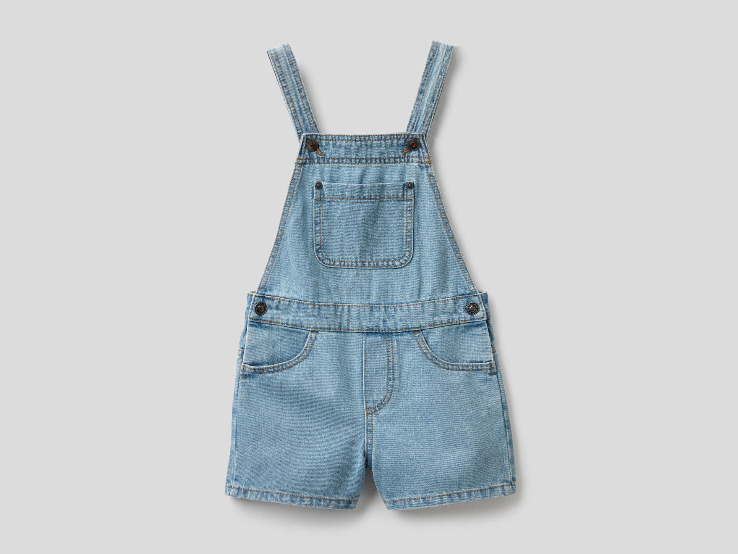 Benetton, Salopette Corta In Denim Di 100% Cotone, taglia XL, Celeste, Bambini - United Colors of Benetton - Modalova