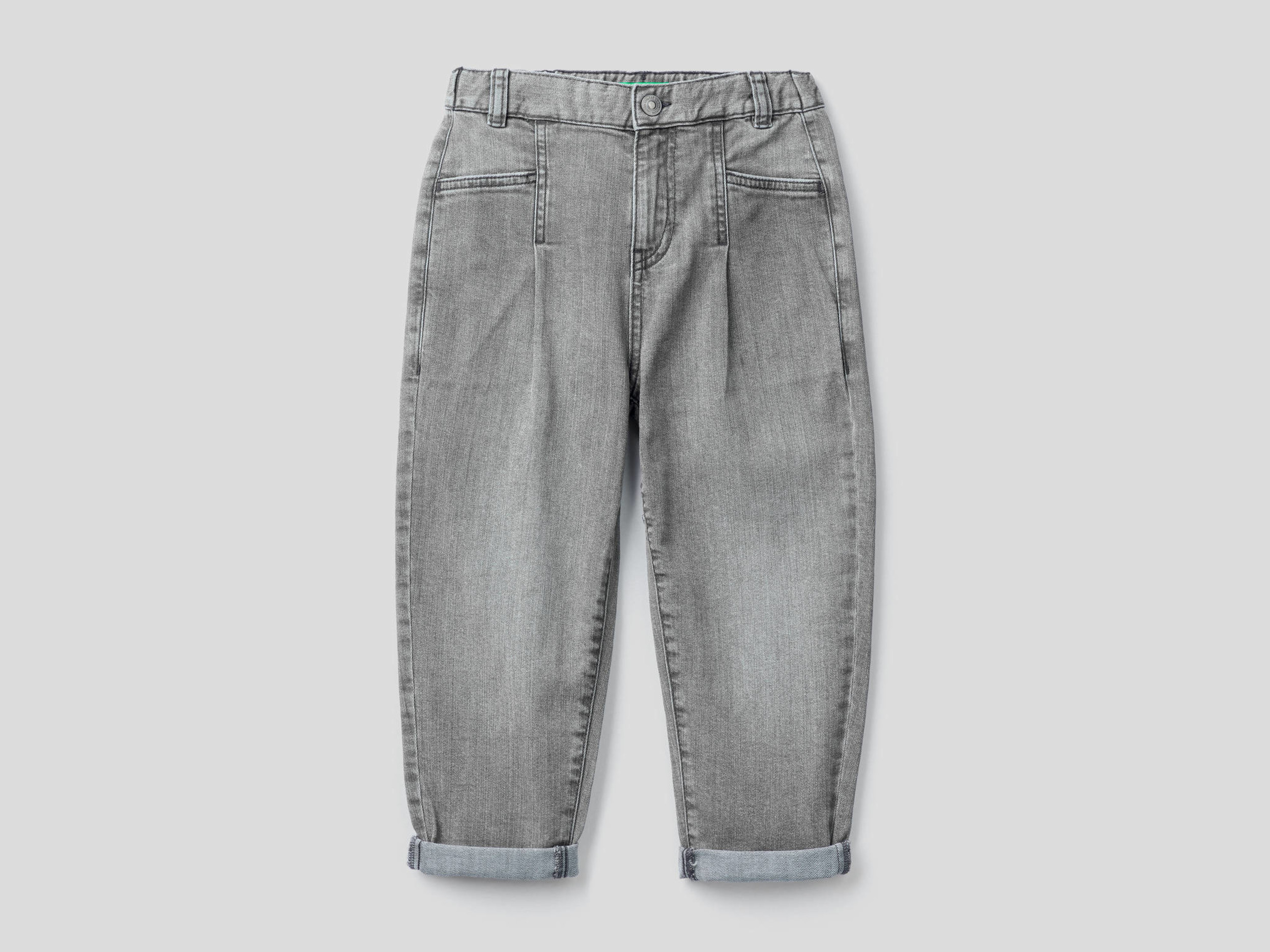 Benetton, Jeans Slouchy In Cotone Stretch, Grigio, Bambini