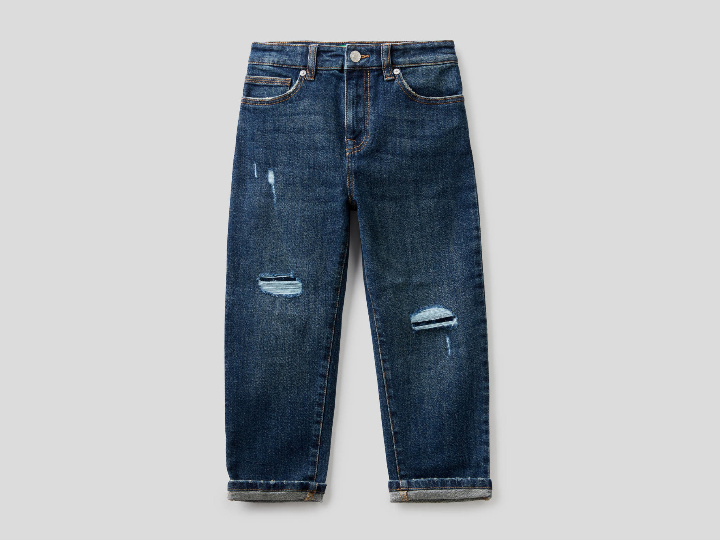Benetton, Jeans Slouchy Con Rotture, Blu, Bambini