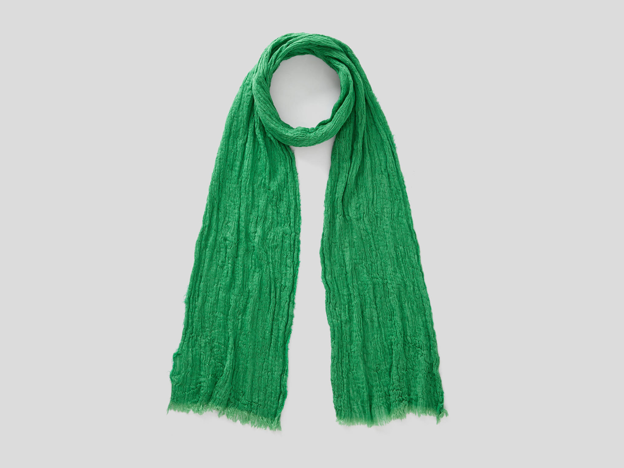 benetton online exclusive, crumpled look scarf, size os, green, women