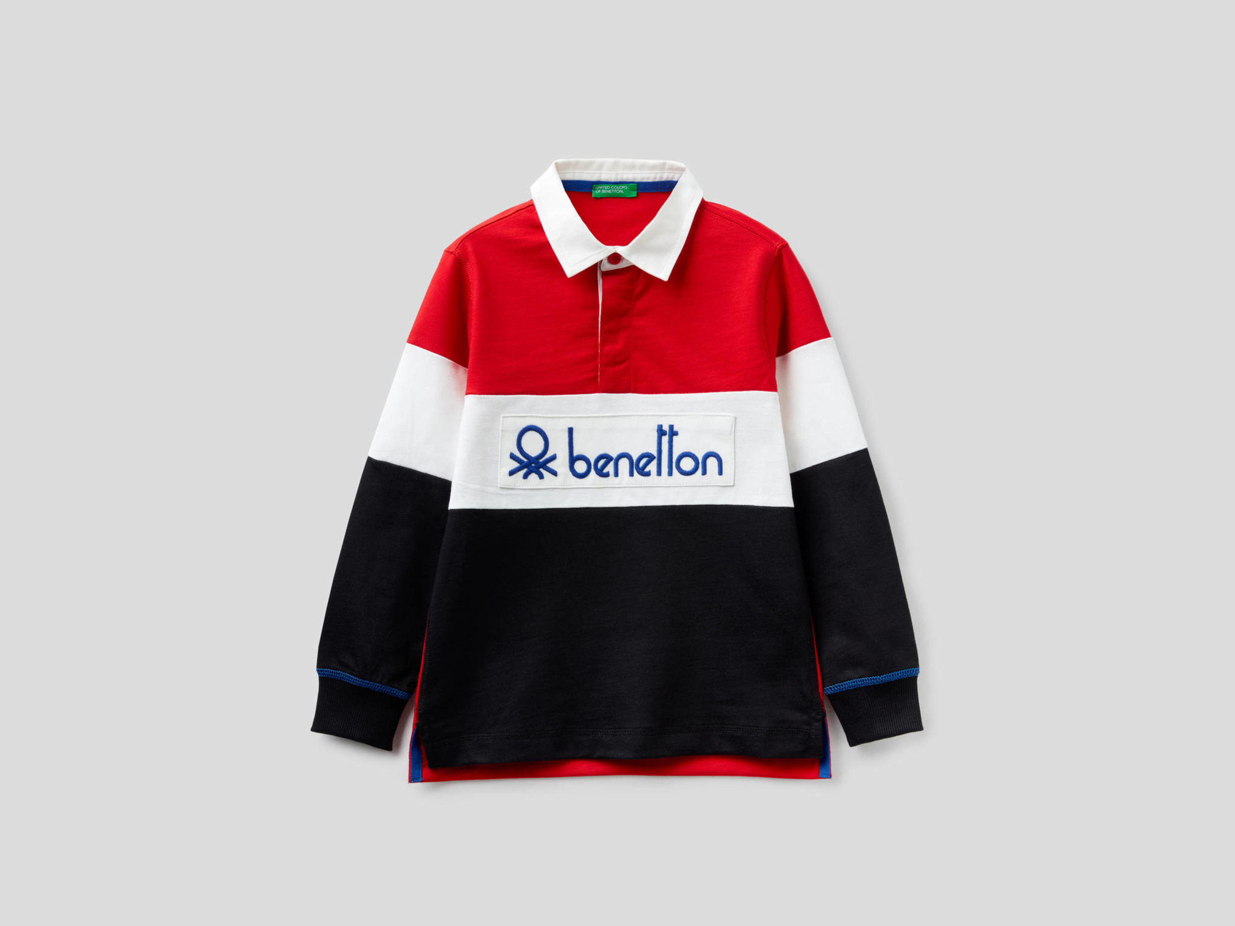 Benetton, Polo Rugby In 100% Cotone, Rosso, Bambini