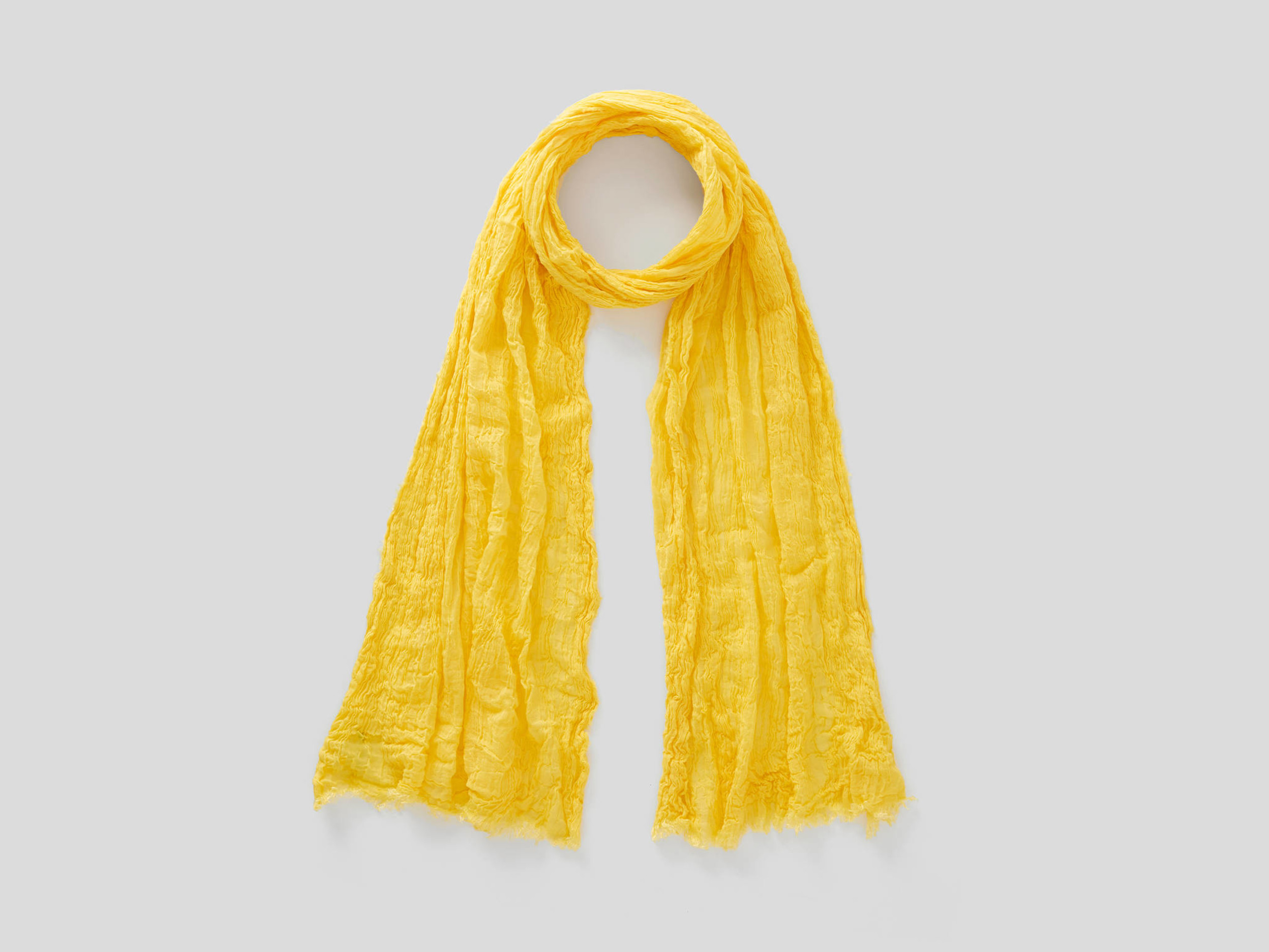 benetton online exclusive, crumpled look scarf, size os, yellow, women