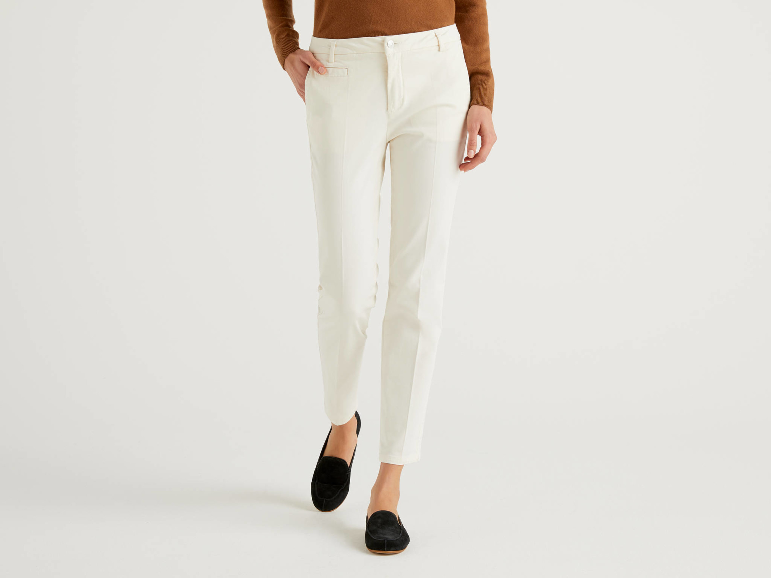 Benetton Online exclusive, Chino Slim Fit In Cotone Bianco Panna, Bianco Panna, Donna