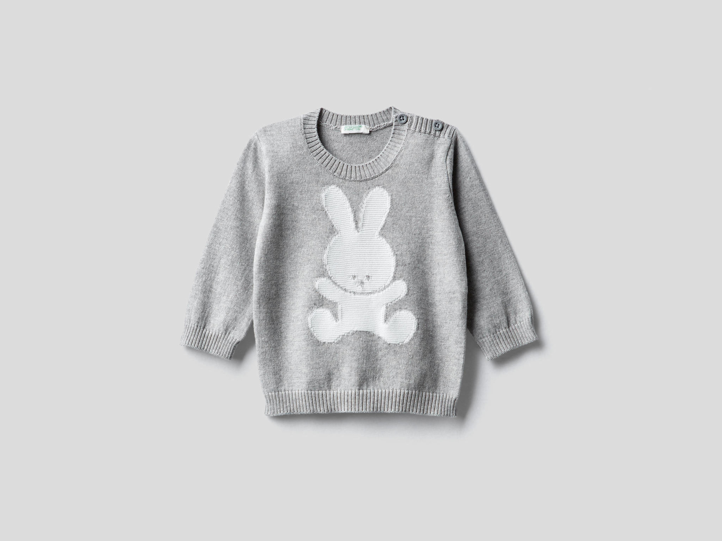 Benetton, 100% Cotton Sweater With Inlay, size , Gray, Kids