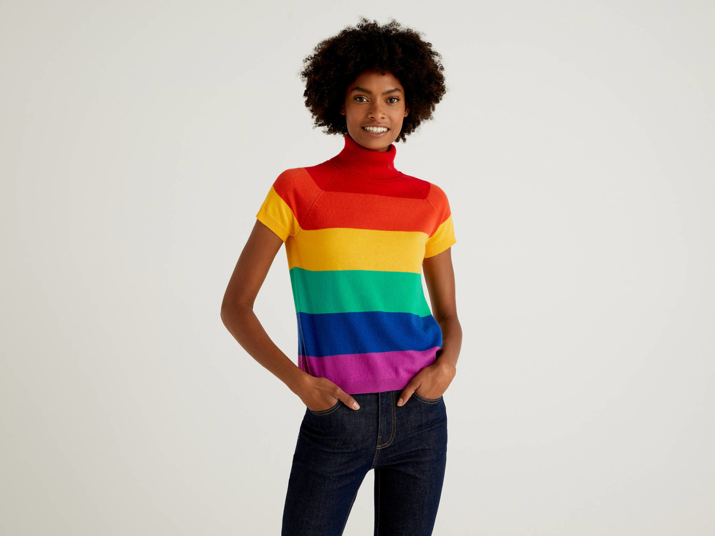 Benetton, Multicolor Short Sleeve Turtleneck In Cashmere And Wool Blend, size , Multi-color, Women