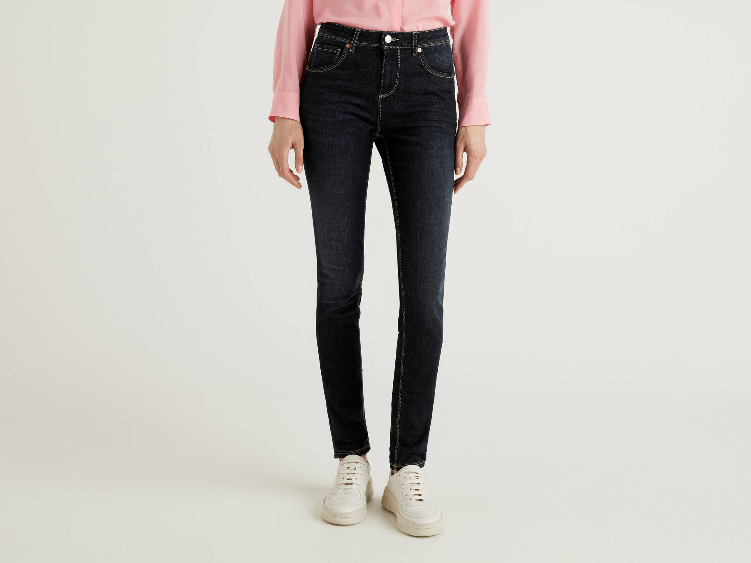 Benetton, Jeans Push Up Skinny Fit, Blu Scuro, Donna