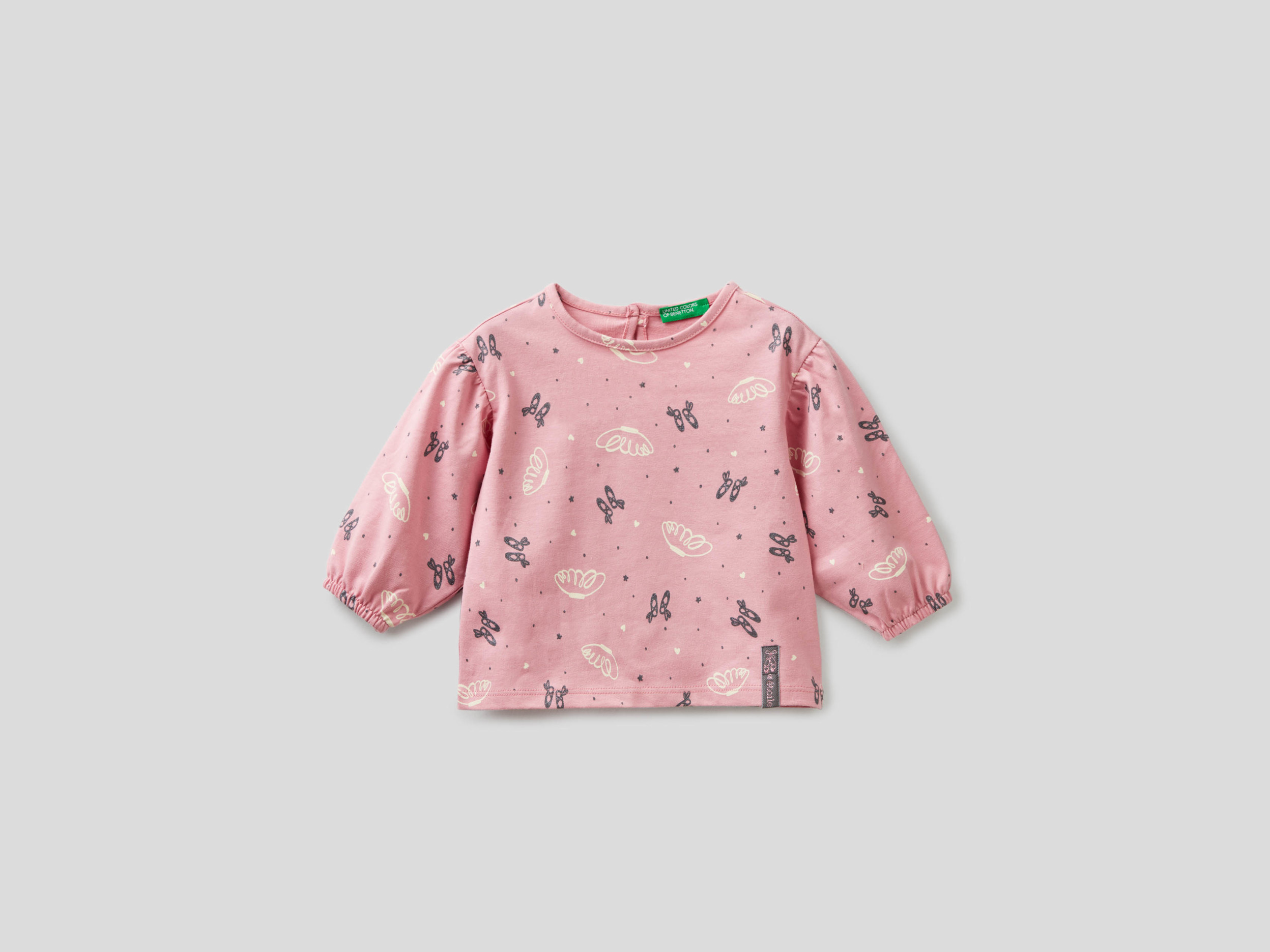 Benetton, Blouse With Balloon Sleeves, size , Pink, Kids