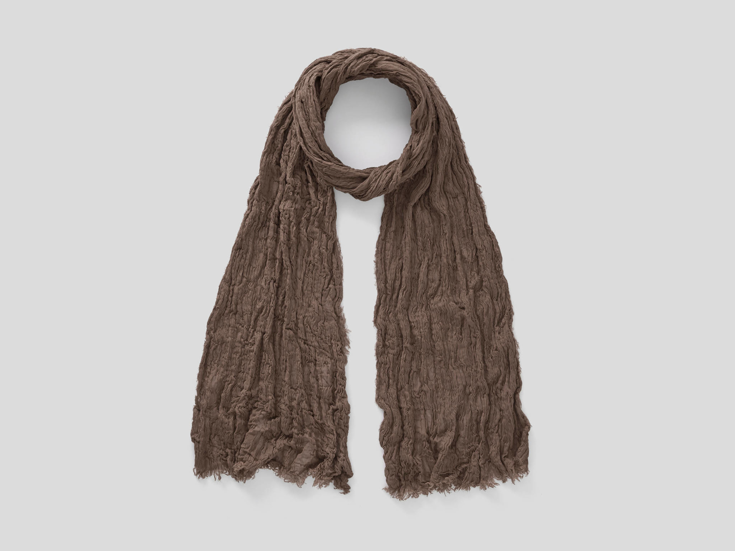 benetton online exclusive, crumpled look scarf, size os, dove gray, women