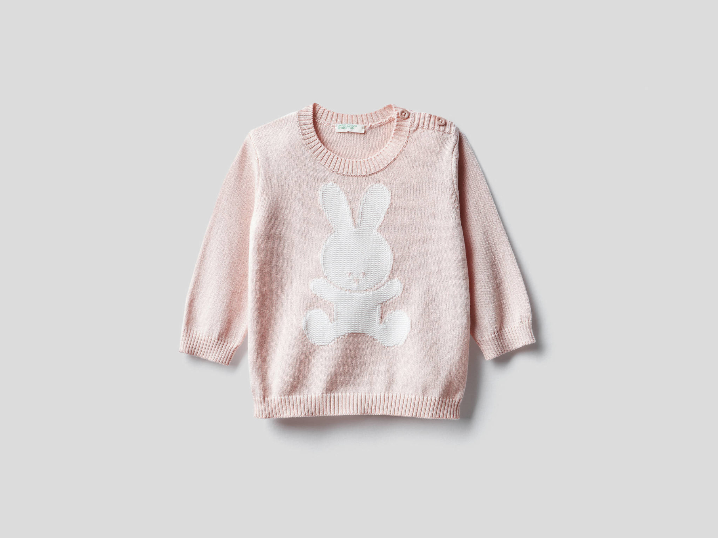 Benetton, 100% Cotton Sweater With Inlay, size , Pink, Kids