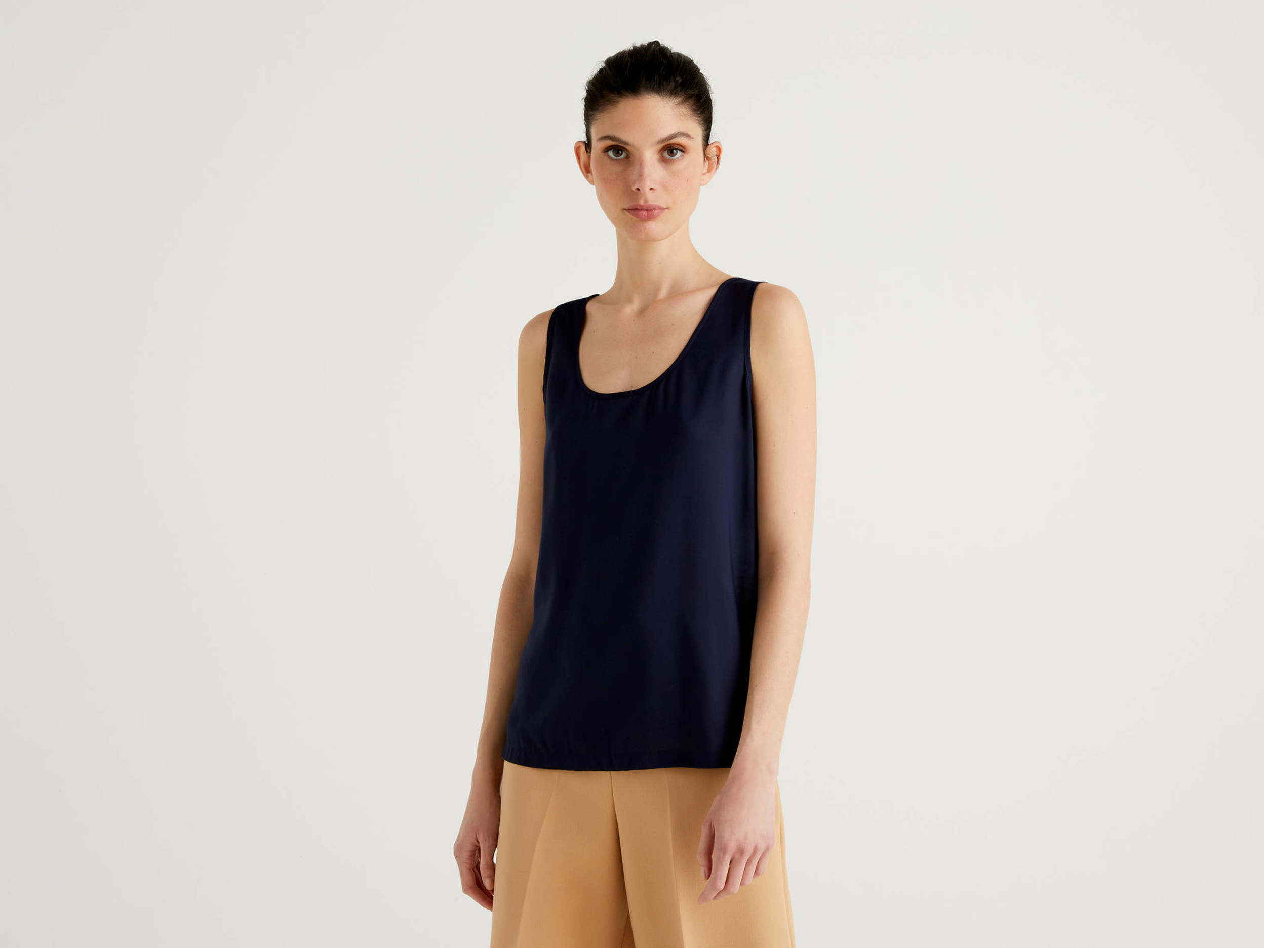 2 Pack Mamalicious Maternity Loose Fit Tank Top Vest Organic Cotton Blue White
