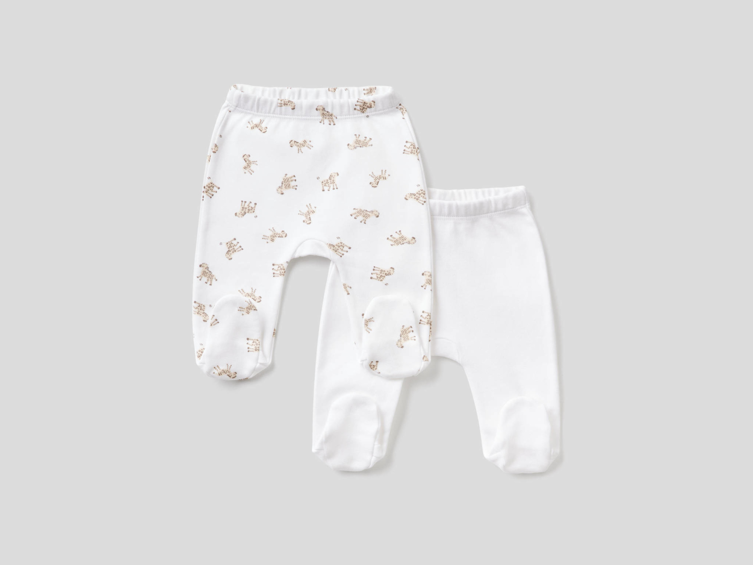 Benetton, Two Pairs Of Stirrup Trousers In Organic Cotton, size , White, Kids