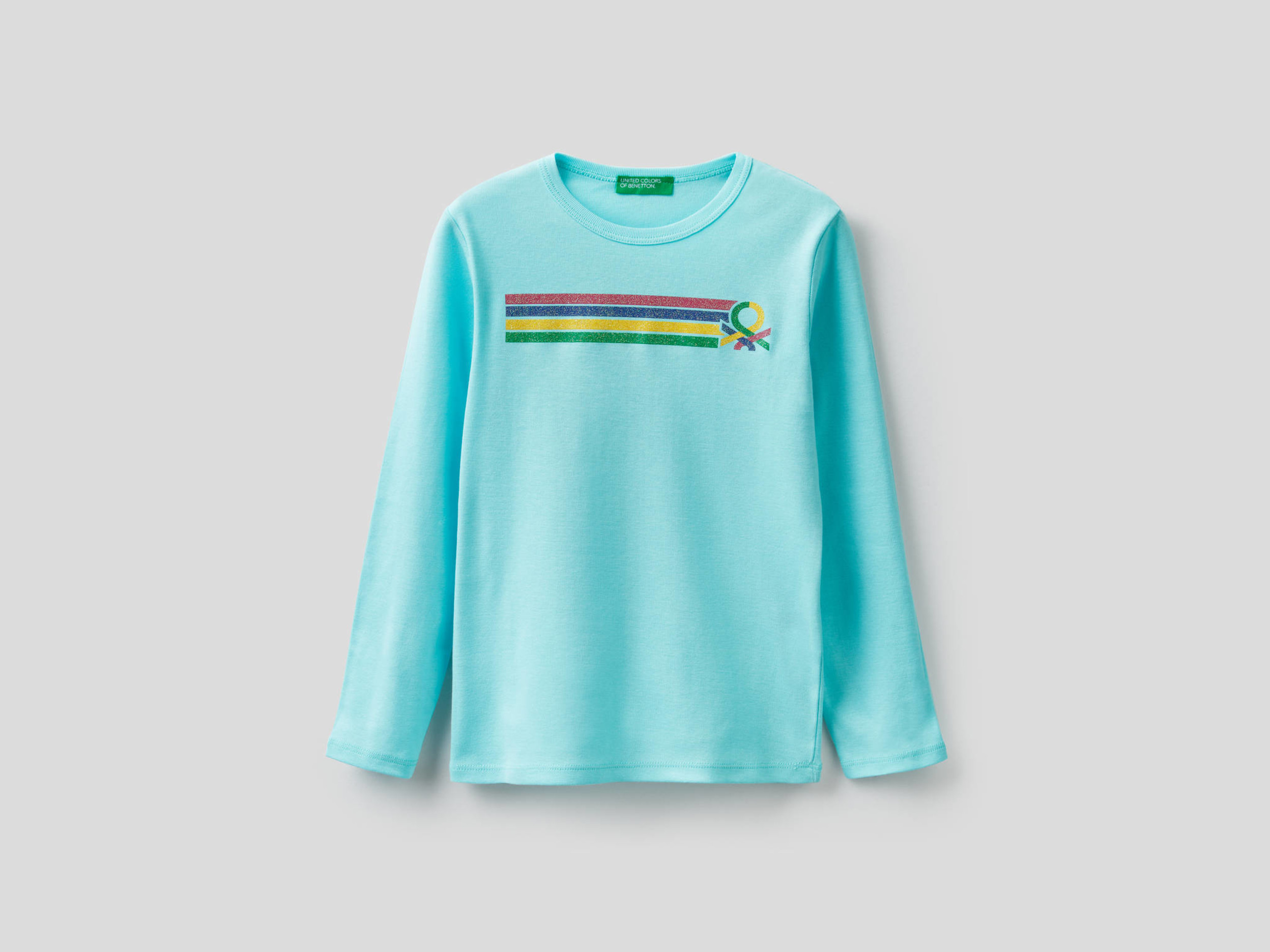 Benetton, Long Sleeve T-shirt With Print, size , Turquoise, Kids