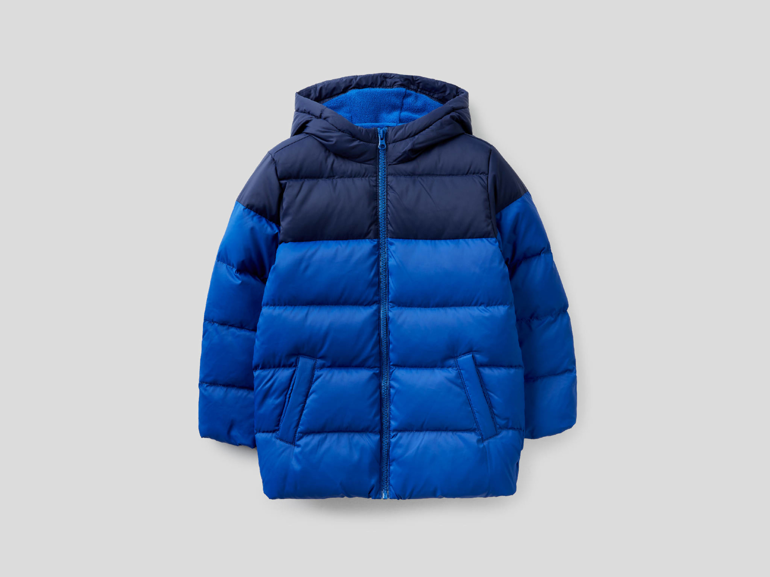 Benetton, Two-tone Puffer Jacket With Hood, size , Bright Blue, Kids