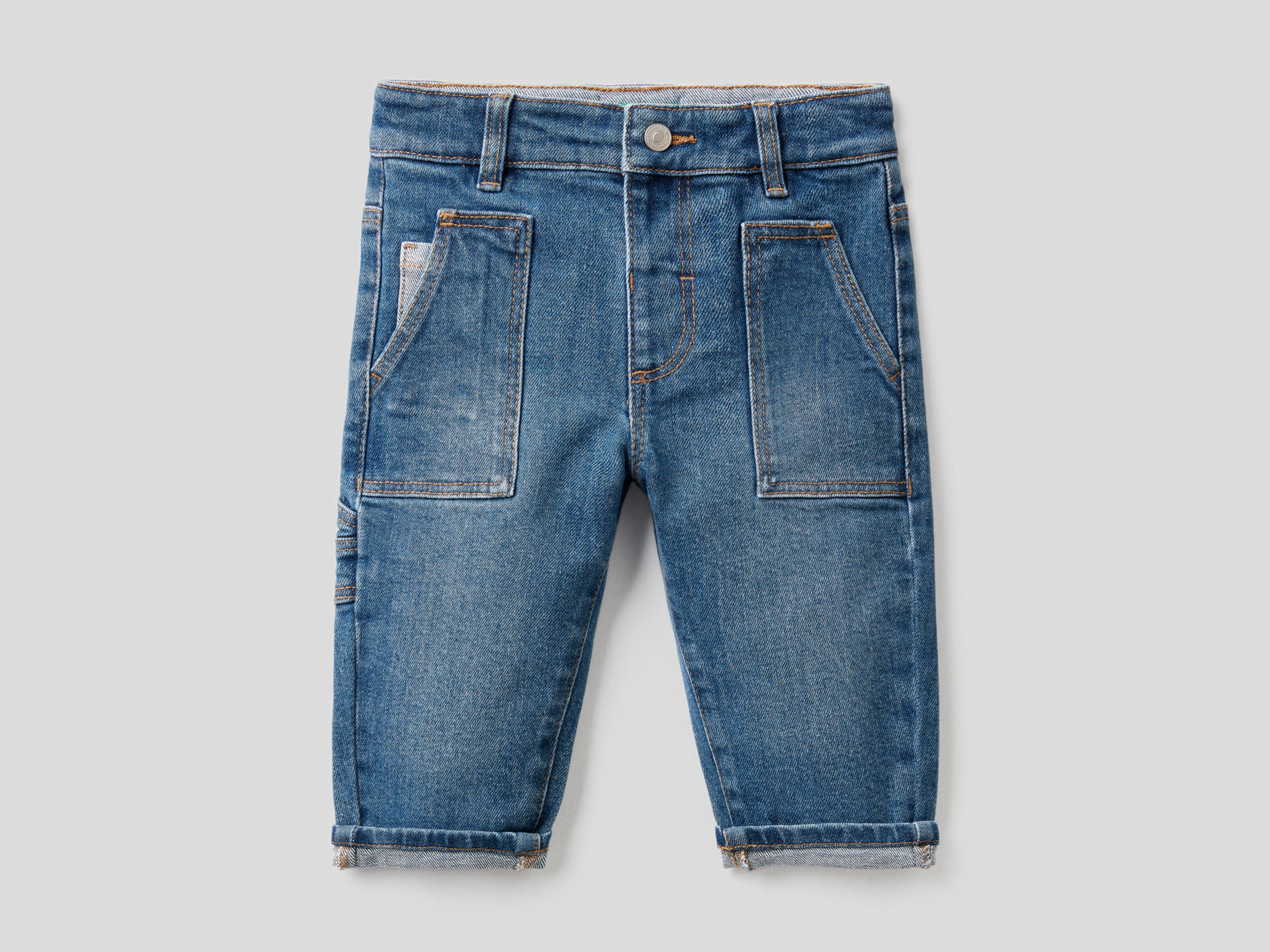 Benetton, Jeans With Pockets In Stretch Cotton, size , Blue, Kids