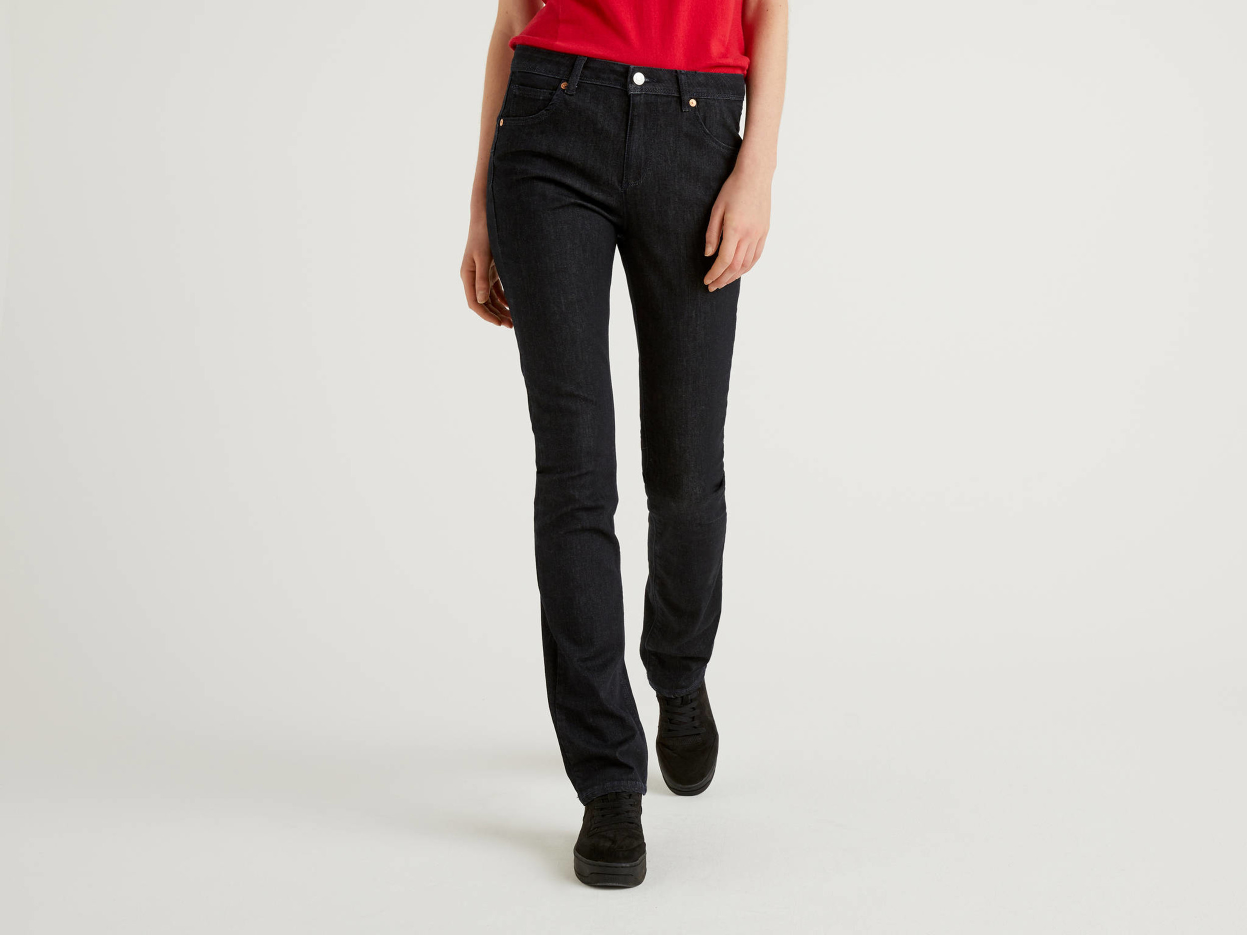 Benetton Online exclusive, Jeans Bootcut Push Up, Blu Scuro, Donna