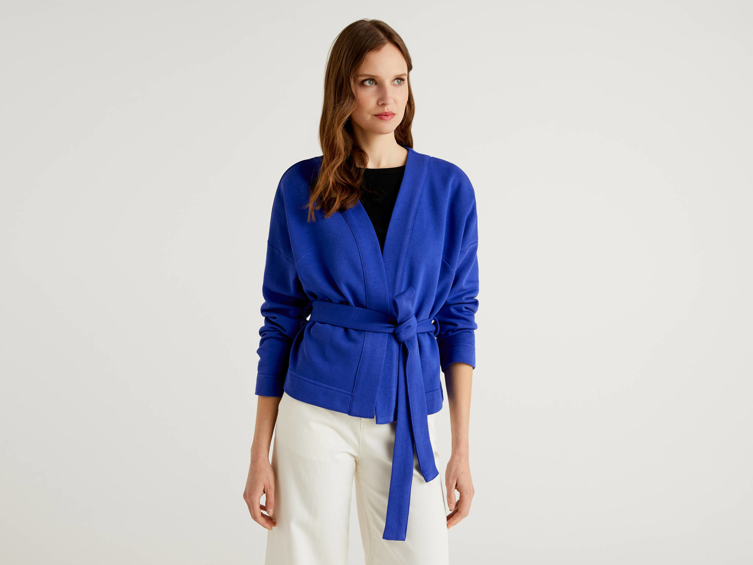 Benetton, Cardigan In Felpa Stile Kimono, taglia S, Blu, Donna - United Colors of Benetton - Modalova