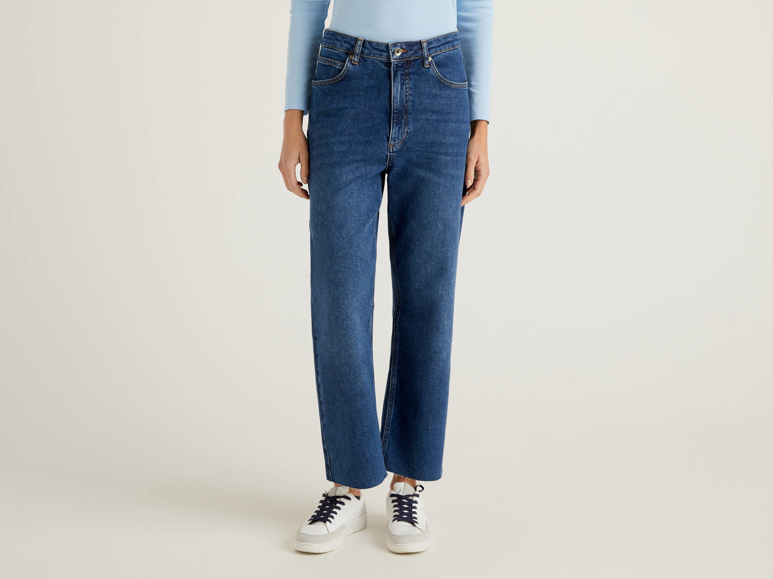 Benetton, Jeans Daddy Fit, Blu, Donna