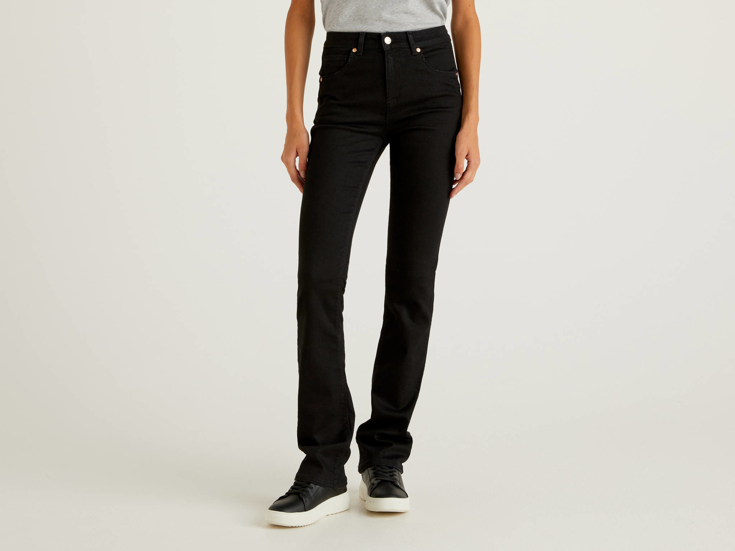 Benetton, Jeans Bootcut Push Up, Nero, Donna