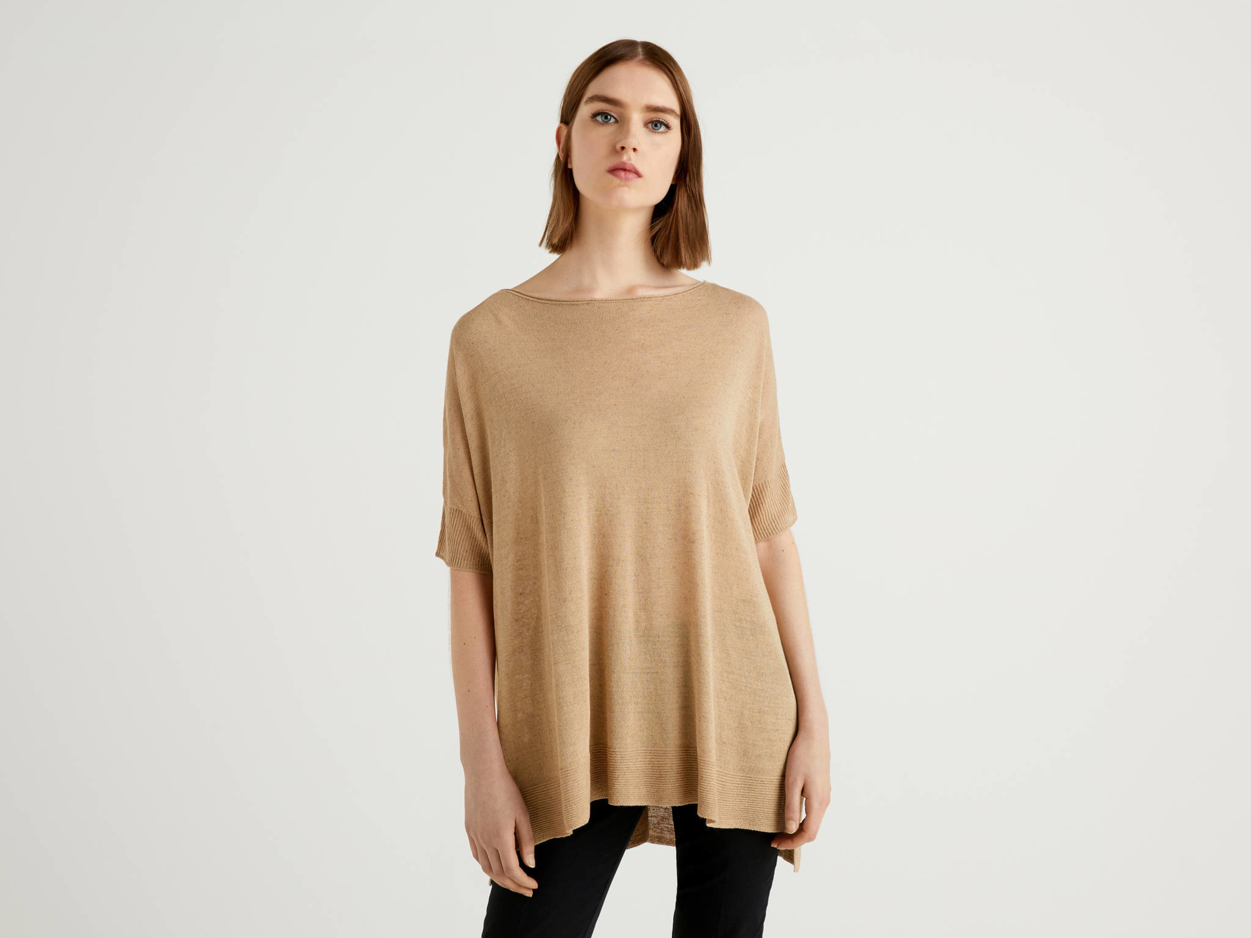Benetton, Pull Oversize À Manches Courtes, taille S, Beige, Femme