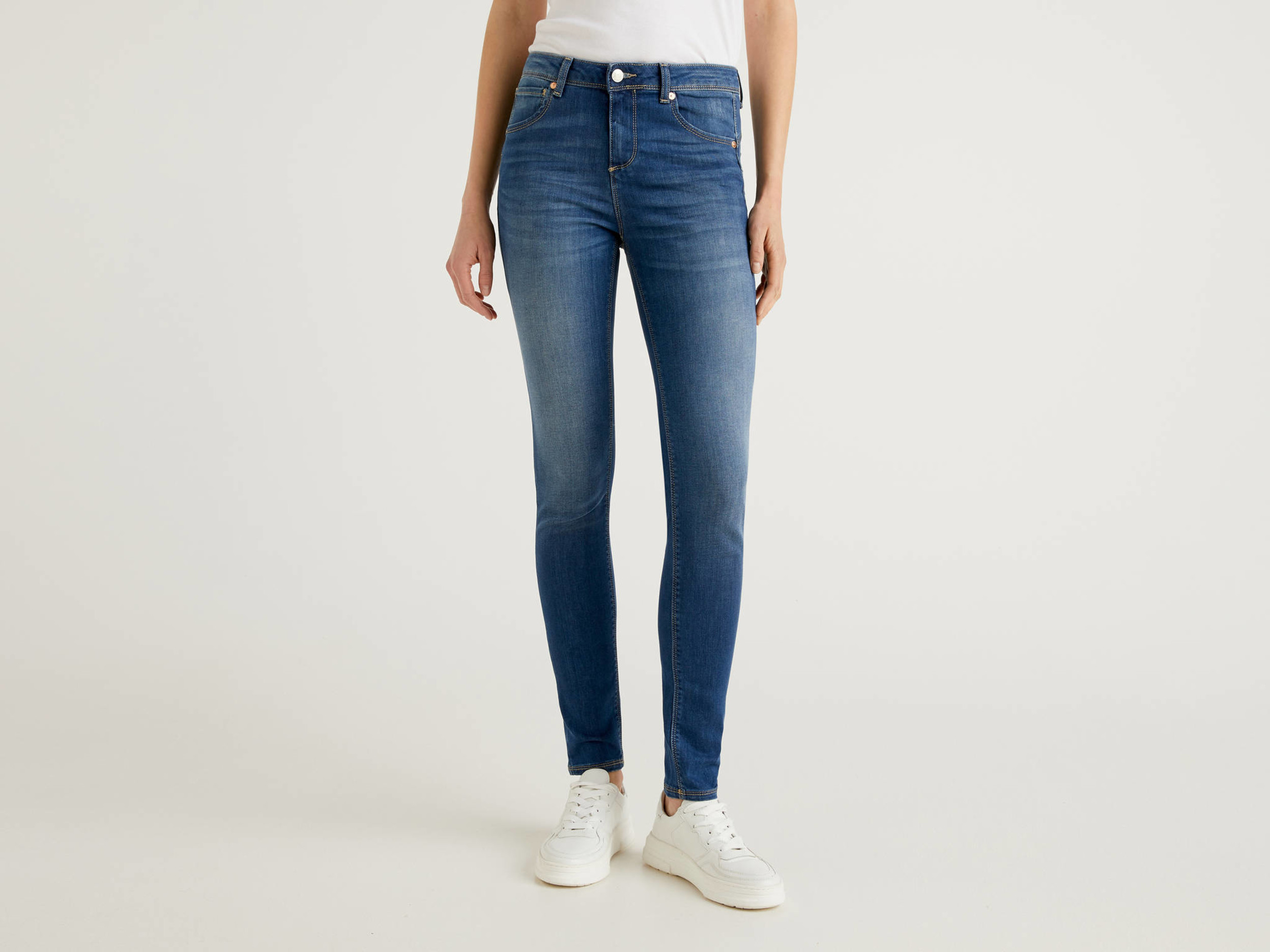 Benetton, Jeans Push Up Skinny Fit, Blu, Donna