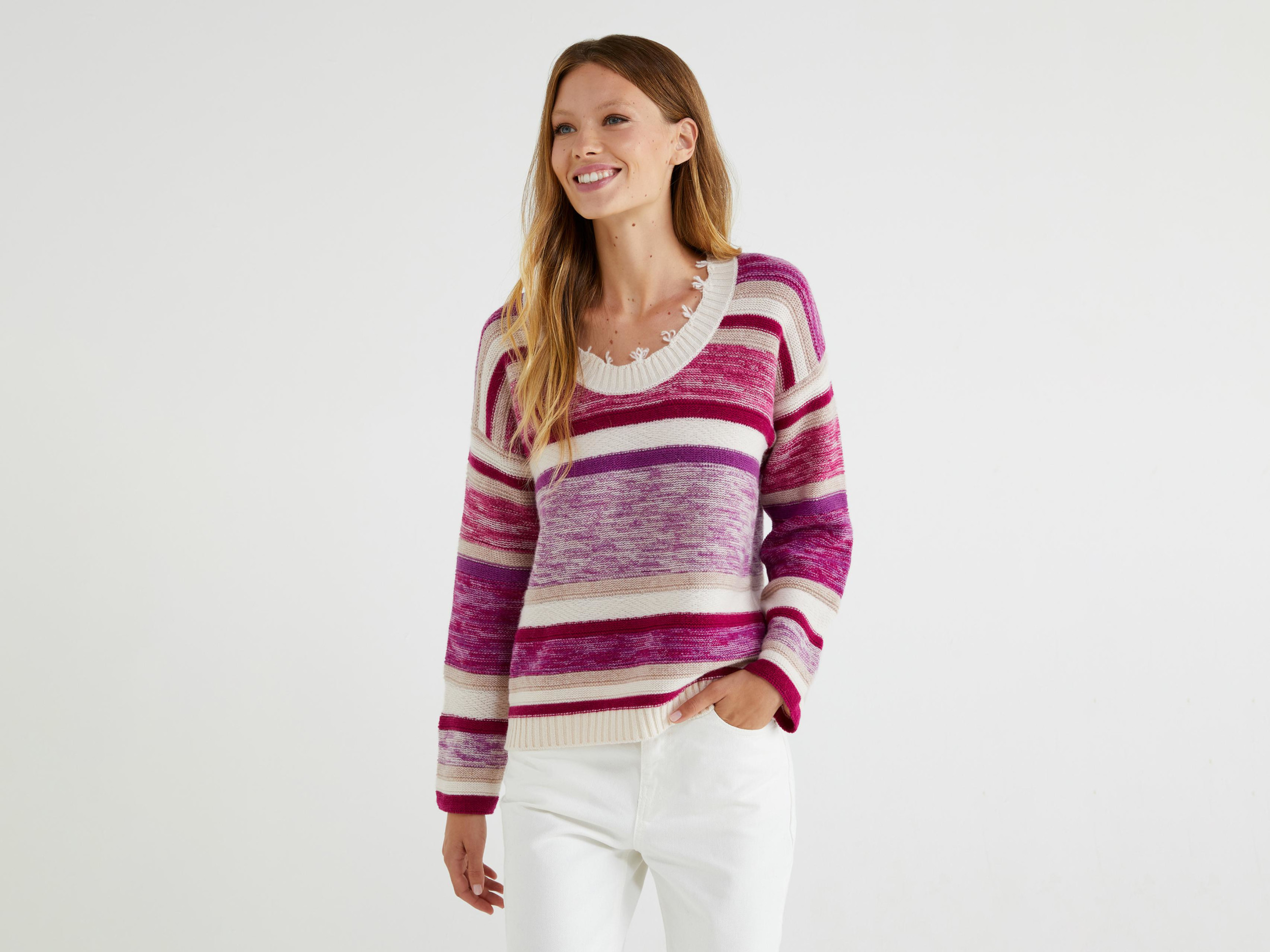 Benetton, Pull Jacquard À Rayures, taille M, Violet, Femme