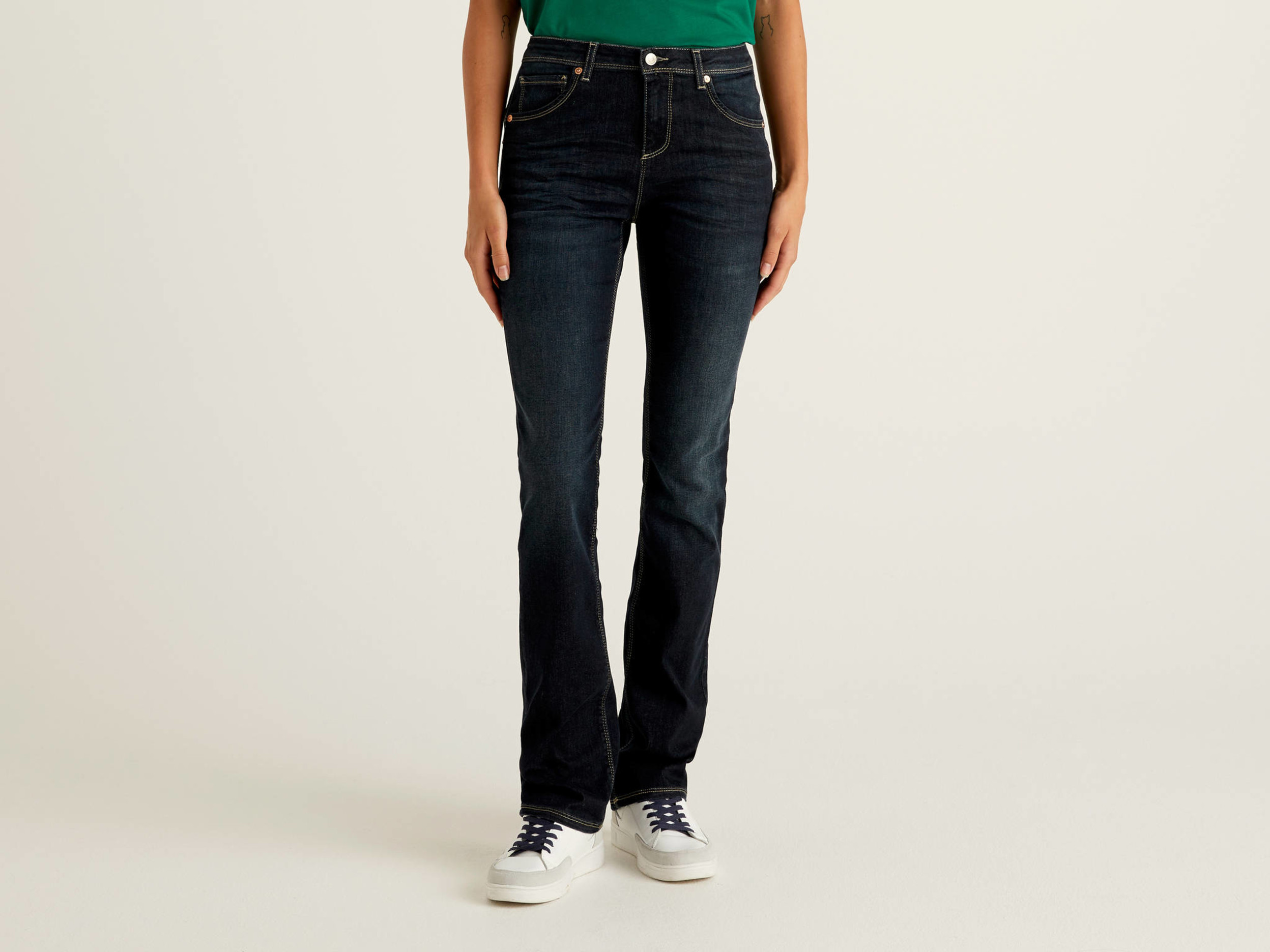 Benetton, Jeans Bootcut Push Up, Blu Scuro, Donna
