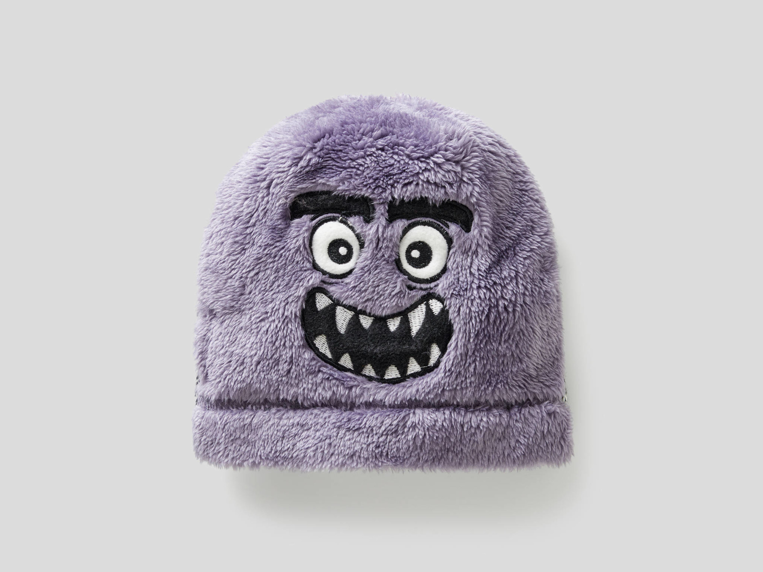 Benetton, Knit Fleece Hat With Embroidery, size , Gray, Kids