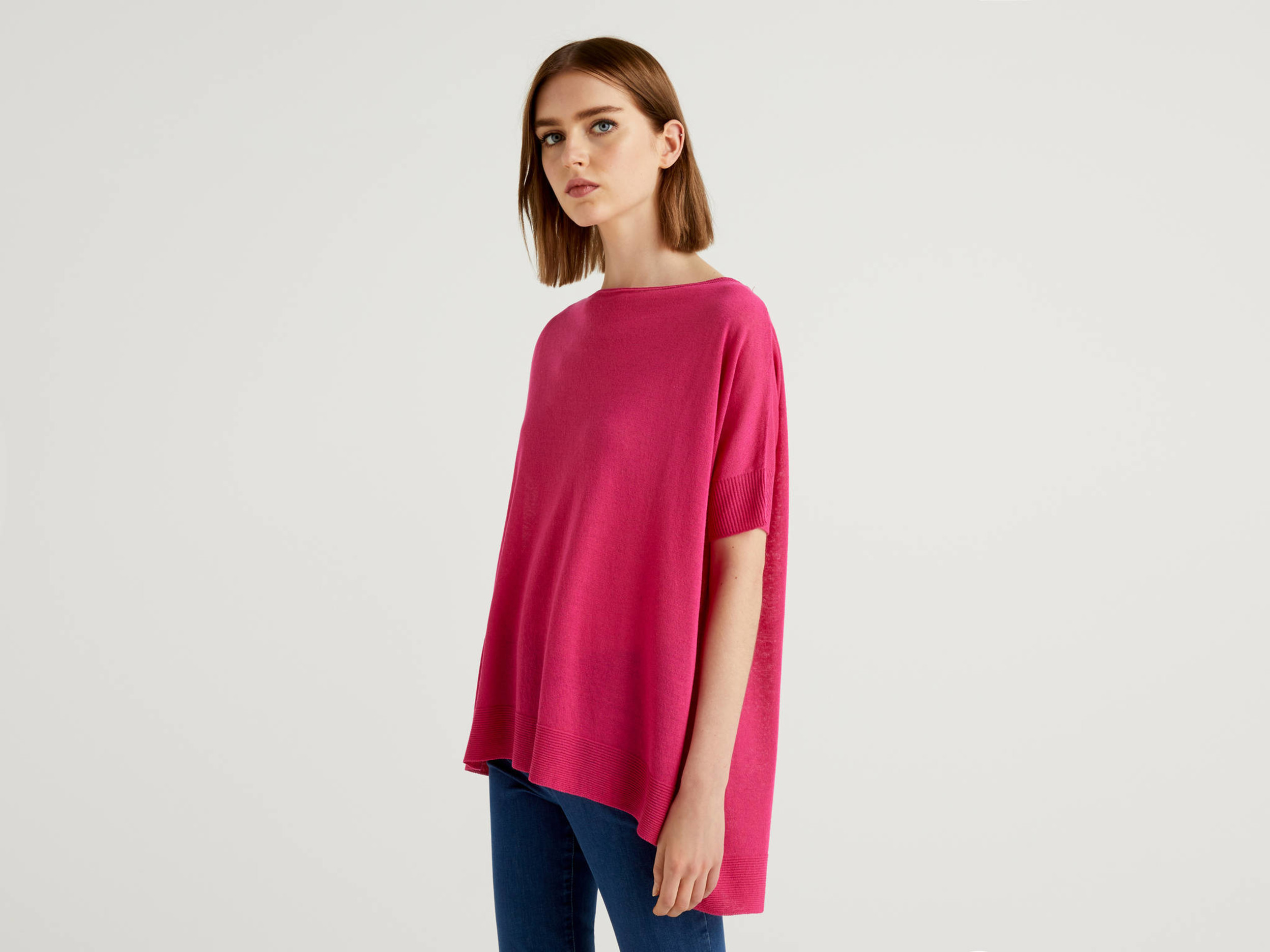 Benetton, Pull Oversize À Manches Courtes, taille L, Fuchsia, Femme