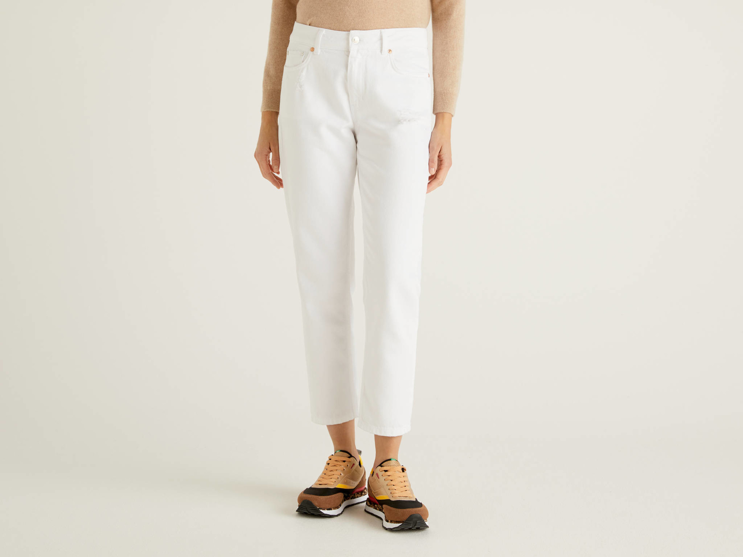 Benetton, Jeans Bianchi Con Rotture, Bianco, Donna