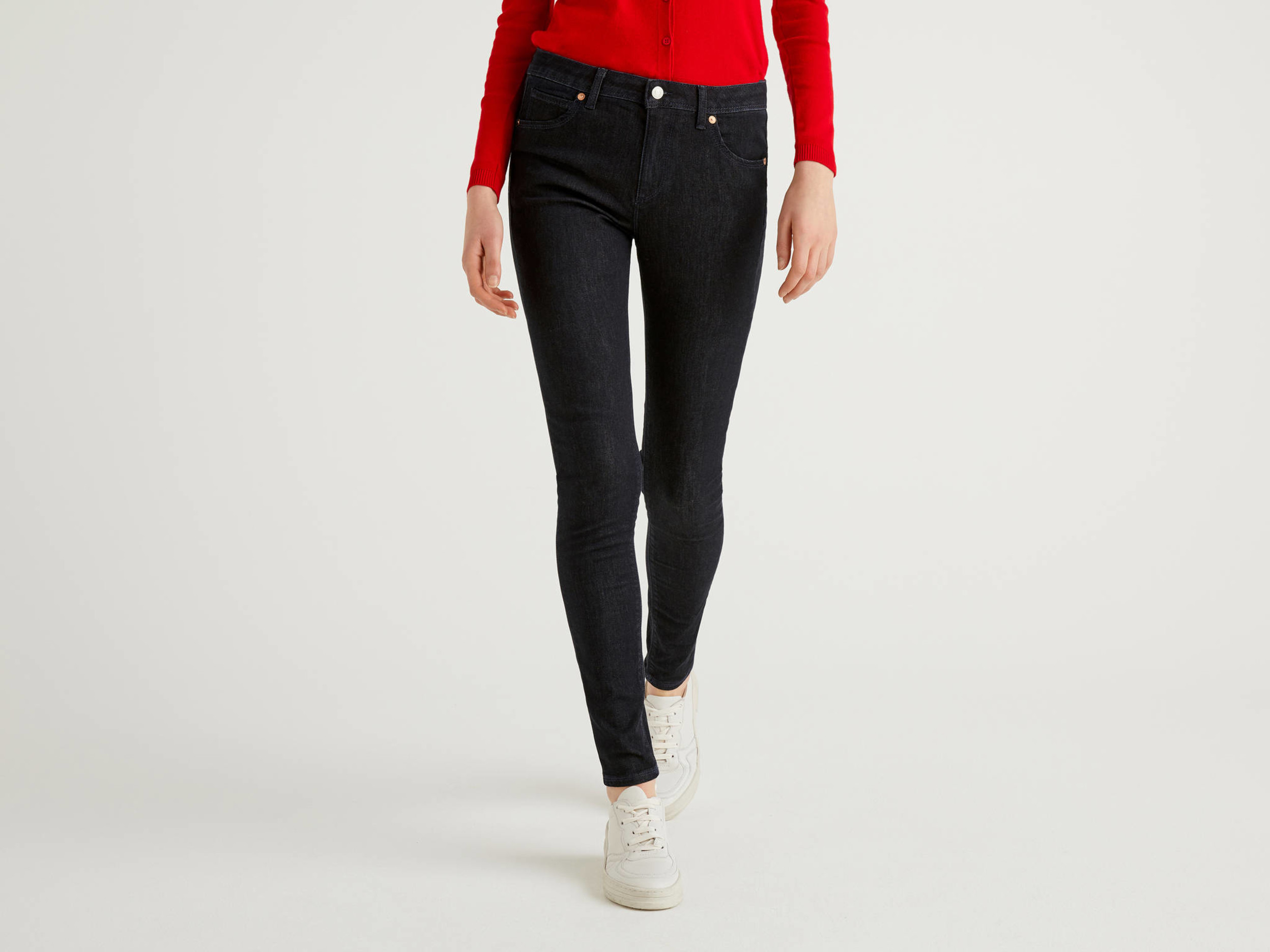 Benetton Online exclusive, Jeans Push Up Skinny Fit, Blu Scuro, Donna