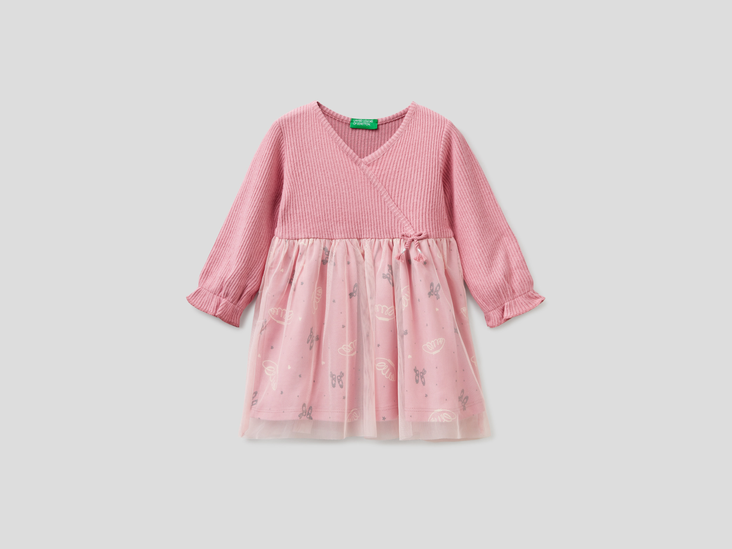 Benetton, Dress With Tulle Layer, size , Pink, Kids